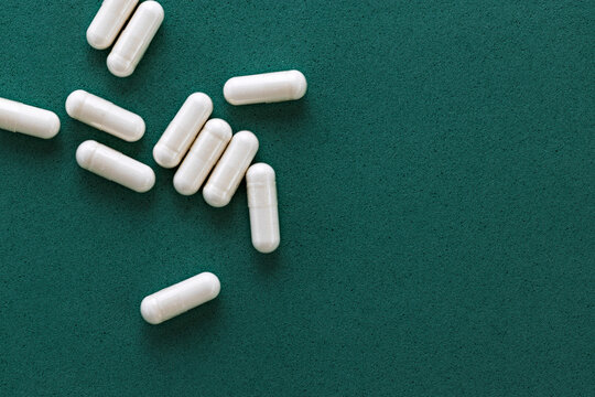 close-up of DMG (pangamic acid) capsules. dietary concept. dietary supplement topview.