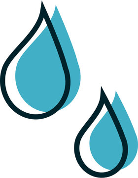 Water or sweat drops vector icon graphic or clipart illustration