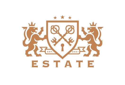 Luxury Lion key estate logo. Elegant heraldic shield crest icon. Premium coat of arms symbol. Royal heraldry emblem. Vector illustration.