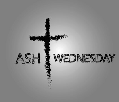 vector illustration background for ash Wednesday with cross and text