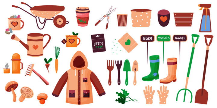 Gardening tools illustration in flat style. seedlings, garden tools and cutter. Fertilizer, gloves, insecticide, pitchfork, wheelbarrow and watering can. Eps 10
