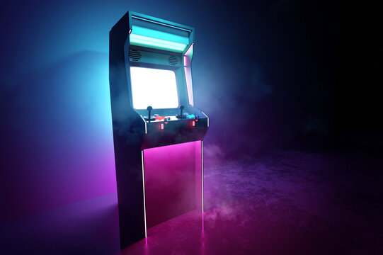 Neon pink and cyan glowing retro games arcade machine background. 3D illustration.