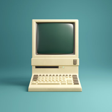 Retro 1980's style beige desktop computer and built in screen and keyboard.  3D illustration.