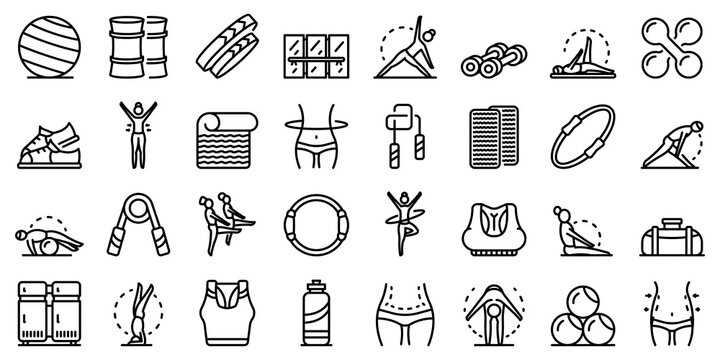 Pilates icons set. Outline set of pilates vector icons for web design isolated on white background