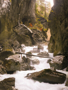 Partchnachklamm in Bavaria, Germany in autmun.
