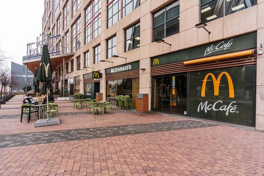 MADRID, SPAIN - Jan 29, 2021: Facade of a McDonald's located in Plaza de Castilla in Madrid, Spain.