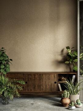 Beige interior with plants, dresser, stucco wall and decor. 3d render illustration mock up.