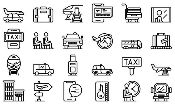 Airport transfer icons set. Outline set of airport transfer vector icons for web design isolated on white background