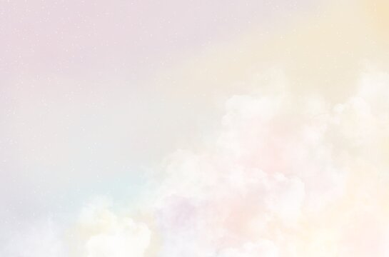 abstract colorful Pastel rainbow sky with clouds background