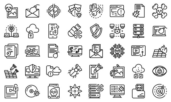 Malware icons set. Outline set of malware vector icons for web design isolated on white background