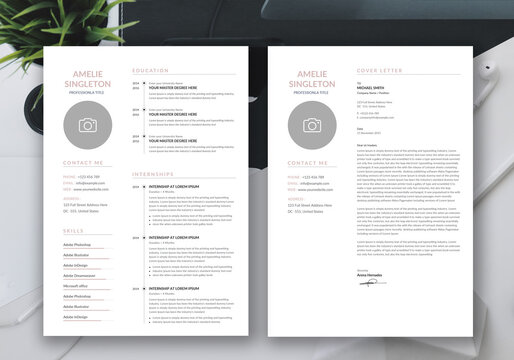 Minimalist resume cv template with cover letter