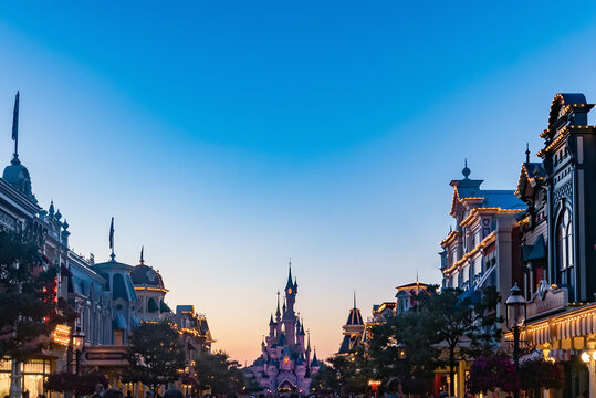 One of the main streets of the Disney Parks leading to the Princess castle. August 28, 2019, Paris, France.