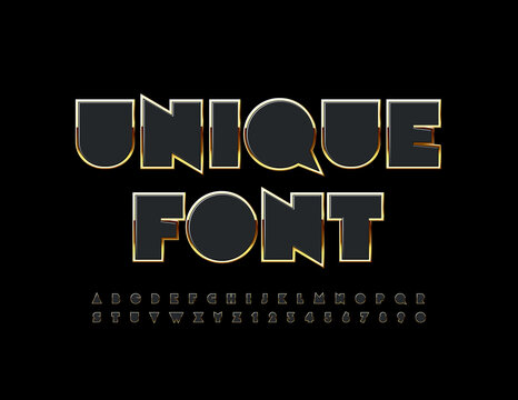 Vector Unique Font. Black and Gold creative Alphabet. Abstract elite Letters and Numbers set