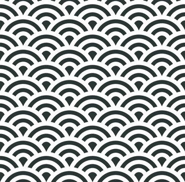 Asian seigaiha seamless pattern with sea waves