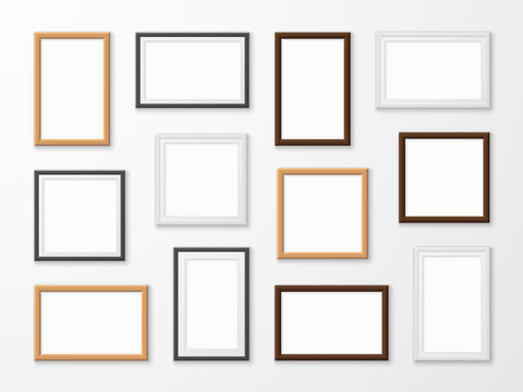 Realistic image frames. Picture frame in different colors, hanging blank pictures on gallery wall of modern interior templates vector set.