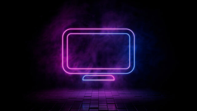 Pink and blue neon light display icon. Vibrant colored monitor technology symbol, isolated on a black background. 3D Render