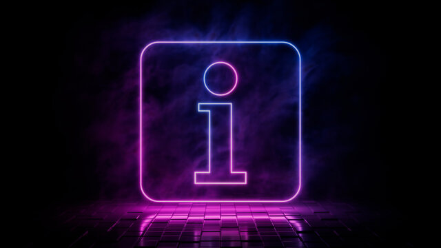 Pink and blue neon light information icon. Vibrant colored info technology symbol, isolated on a black background. 3D Render