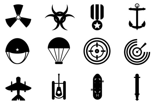Mixed combination of military in navy, seal, air force icons isolated on white background
