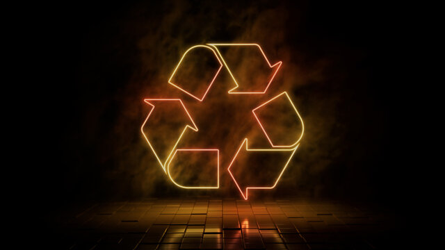 Orange and yellow neon light recycle icon. Vibrant colored technology symbol, isolated on a black background. 3D Render