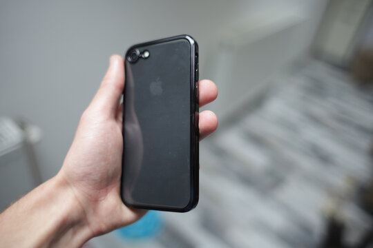 BRCKO, BOSNIA AND HERZEGOVINA - Oct 15, 2020: Man holding Apple iPhone