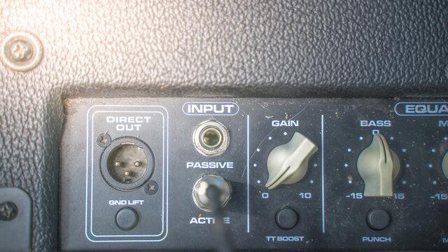 guitar amp tuning knobs, close up