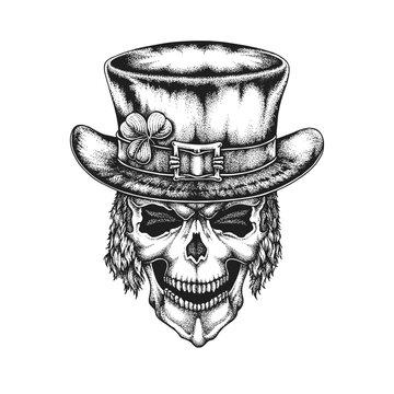 St. Patrick's Day Irish Leprechaun Skull in Top Hat with Shamrock. Hand Drawn Vector Illustration
