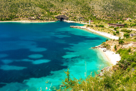azure bay in Himare on albanian riviera in south Albania