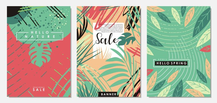 Nature floral set of banners, sale promotion posters, wedding invitations, annual covers, seasonal spring and summer templates, birthday cards, plants patterns. Vector graphic illustration.