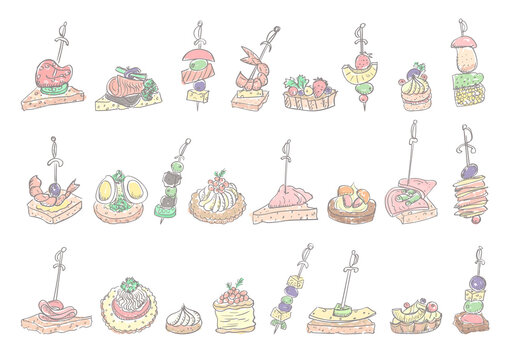 Doodle illustration with canapes and sandwiches