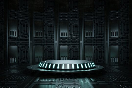 High-tech product podium platform studio in spaceship with electric wire lamp and engine background. Hi-tech retro stage and Future science and technology theme. 3D illustration rendering graphic