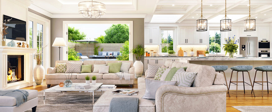 Luxurious interior design of a large living room and white kitchen with patio doors to the garden