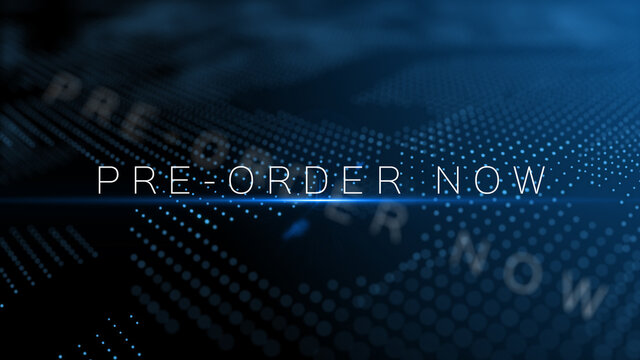 Pre-order now - announcement concept text word with lens flare and depth of field focus blur modern background