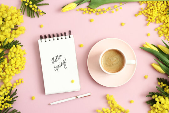 Hello Spring text on notebook, cup of coffee, yellow mimosa branches and tulips on pastel pink background. Spring, springtime, march, equinox concept. Top view.