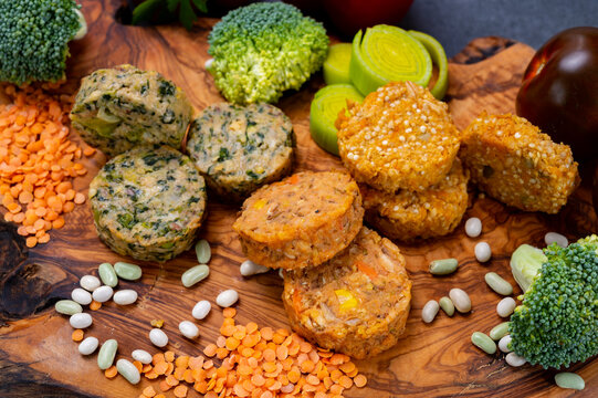 Small tasty vegan and vegetarian burgers made from fresh vegetables and dried legumes and beans