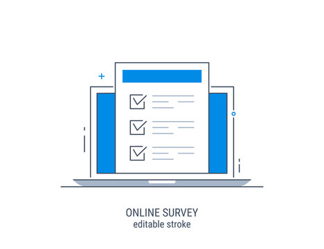 Online survey. Editable stroke. Vector illustration. Flat concept with quality test and satisfaction report. Feedback from customers or opinion form.