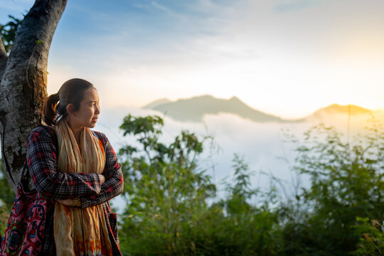 Beautiful View of the Sunrise - on November 6, 2020 - The tourism go to see the beautiful view of the sunrise against the sea of mist at Phu Tok, Loei, Thailand.