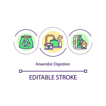 Anaerobic digestion concept icon. Organic matter is broken down to produce biogas and biofertiliser idea thin line illustration. Vector isolated outline RGB color drawing. Editable stroke