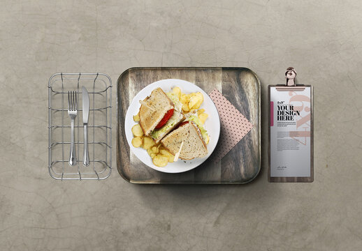 Dinner Plate Mockup with Food Snack Sandwich and thin Clipboard Menu