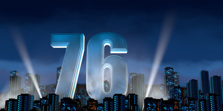 Number 76 in thick blue font lit from below with floodlights floating in the middle of a city center with tall buildings with lights on at night with cloudy sky. 3D Illustration