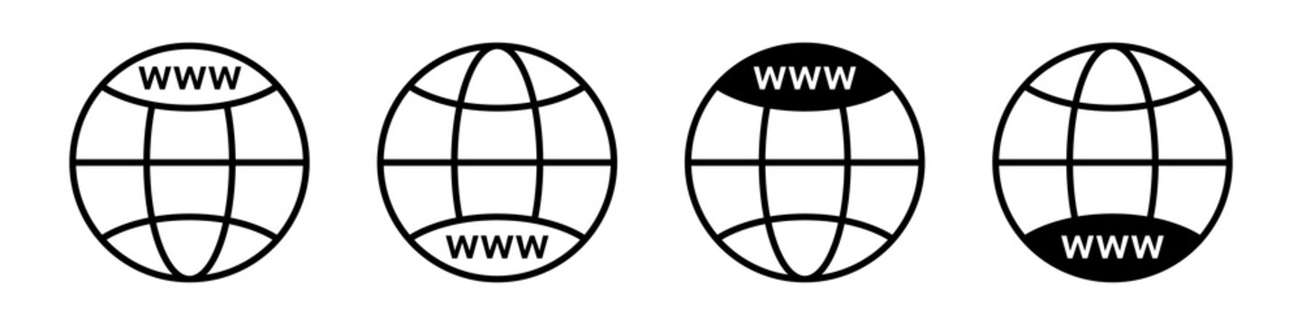 WWW icon. Set of vector earth globes icons. Website icon. Go to web symbol vector icon. Vector illustration icon in flat style.