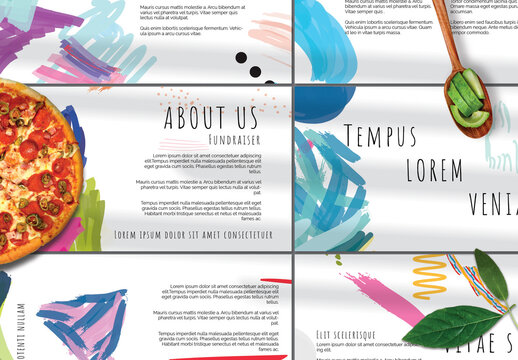 Presentation Deck Layout with Bright Abstract Strokes for Universal Fundraiser Event