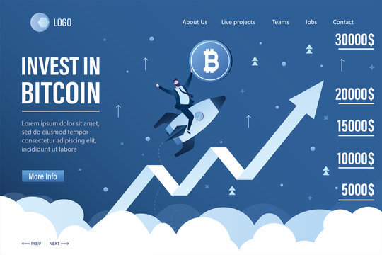 Male trader holds bitcoin. Businessman flying up on rocket. Invest in bitcoin. Fast growth of bitcoin rate, earnings on cryptocurrency.