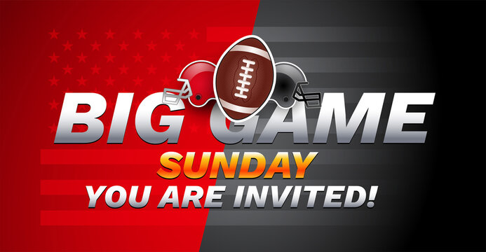 Super football big game Sunday invitation - USA national football championship - red and gray football teams helmets on red gray background - vector illustration
