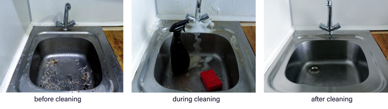 Before, during, and after cleaning. The process of cleaning a dirty stainless steel metal kitchen sink. An example of successful operation of cleaning products, advertising of cleaning products, compa