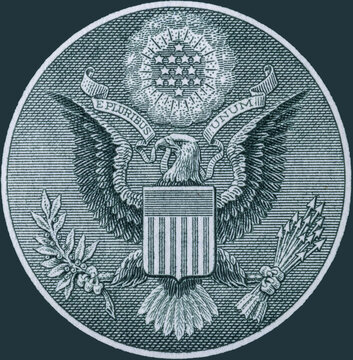 Great Seal of the United States obverse from the back of a one dollar bill. The Bald Eagle carries a ribbon with E pluribus unum, thirteen arrows and an olive branch, with a glory Or with 13 stars.