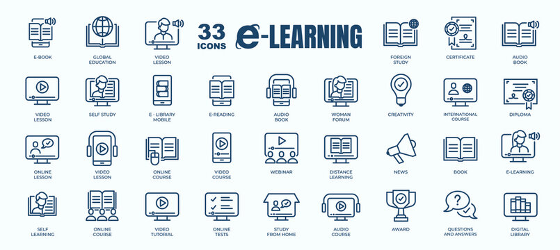Simple Set of E-Learning, Online Course and Education Related Vector Line Icons. Contains thin Icons as Ebook, Audio book, Distance Study and more. Editable Stroke. 48x48 Pixel Perfect