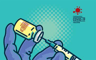 Coronavirus COVID-19 vaccine. Doctor in medical gloves holding corona virus vaccine and syringe