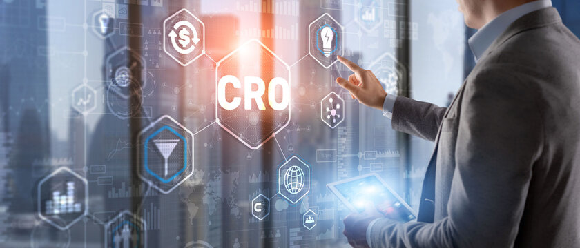 Conversion rate optimization on virtual screen. CRO concept and lead generation 2021.