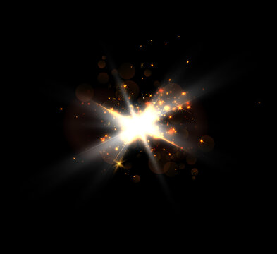 A bright flash of light flickering on a transparent background, for vector illustrations and backgrounds.