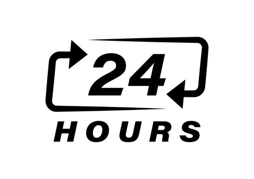 24 hours logo design. Order execution or delivery service icons. Vector illustration